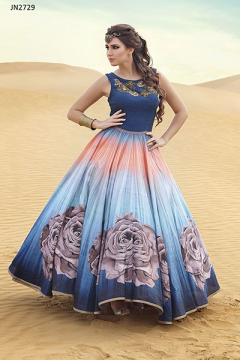 Bhagalpuri Printed Digital Style Gown - 2729