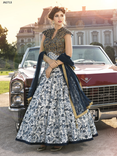 Bhaglpuri Silk Printed Digital Gown - 2713