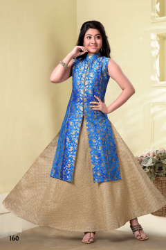 Blue & Cream designer anarkli cut style suit - 160