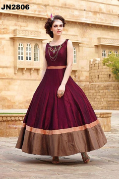 Designer Long Ghare Party Wear Gown - 2806