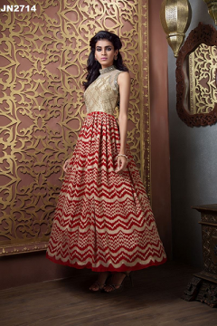 Designer Printted Fancy Gown with Net - 2714