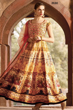 Digital Printed Fancy Worked Festival Wear Gown JN30