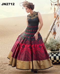 Digital Printed Fancy Worked Gown - 2712