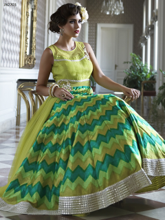 Fashion Style Yellow Party Wear Gown - 2703