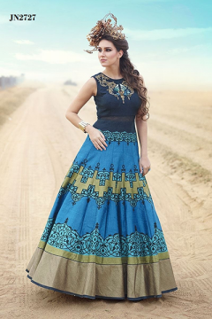 Hand worked Bhaglpuri Digital Printed Gown - 2727