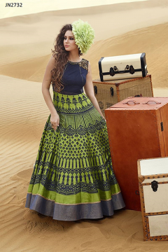 Hand worked Bhaglpuri Digital Printed Gown - 2732