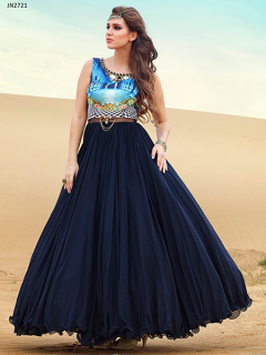 Hand worked Wedding Style Light Blue Gown - 2721
