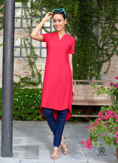 Sort Style Red Plain Kurti's