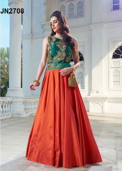 Orange Embroidery Worked Gown - 2708