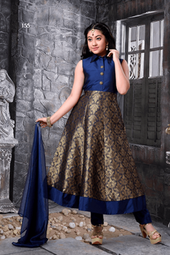 Party Wear Blue Anarkali Suit - 155