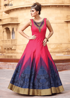 Plain Designer Printed Fancy Long Gown - 310