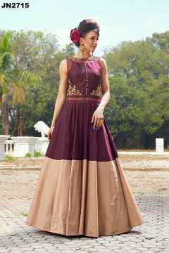 Plain Maroon Style Party Wear Gown - 2715